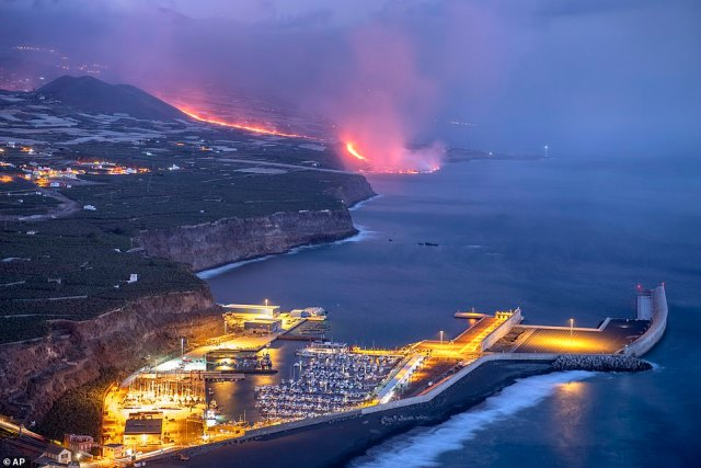 Lava from a volcano reaches the sea on the Canary island of La Palma, Spain, pictured on Wednesday September 29, 2021