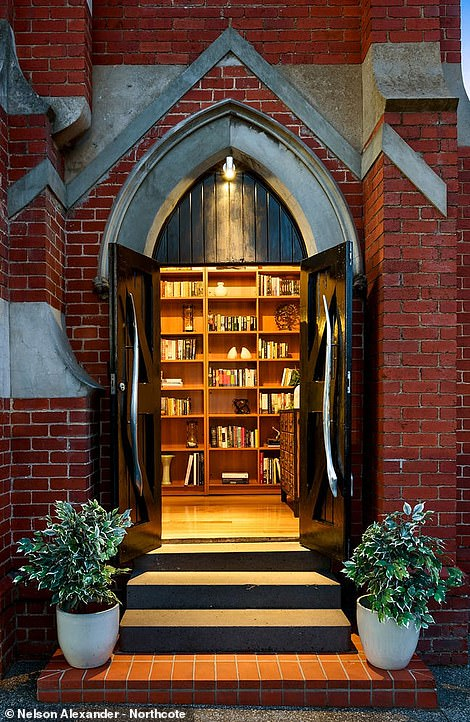 The property welcomes you through the arched front door under the original bell tower