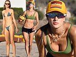 Alessandra Ambrosio dons green bikini as she plays beach volleyball with friend Ludi Delfino