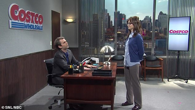 Bizarre: The sketch opens with new featured player Sarah Sherman playing a Costco intern with the gumption to tell the VP of marketing (Kyle Mooney) that he needs a pop group to advertise the stores