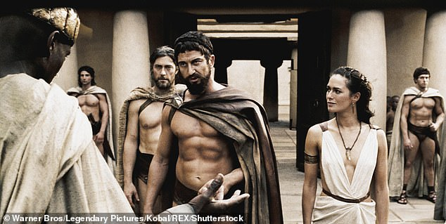 Mr Cole claimed he is speaking about the truth surrounding the Spartan myth to show their flaws and humanity, as well as their bravery. Pictured: Gerard Butler andLena Headey in 300