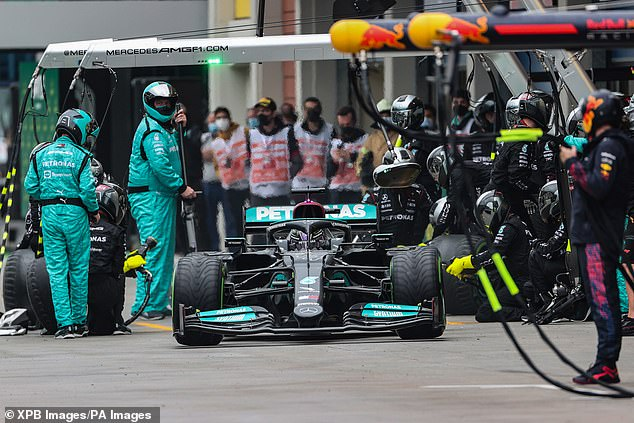 Hamilton came in for the pit stop with eight laps to go and dropped two places on the grid to be fifth