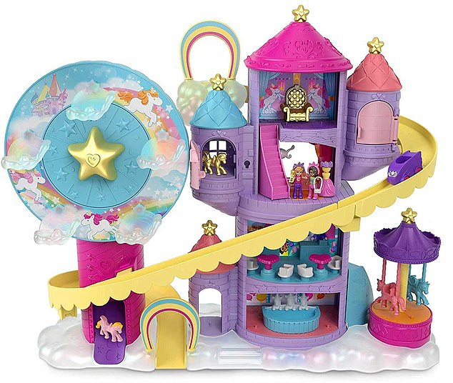 Get ready for theme park fun with the Rainbow Funland Theme Park,£48.99, featuring 3 rides, 7 play areas, Polly and Shani dolls, 2 unicorns and 25 surprises (30 total play pieces)