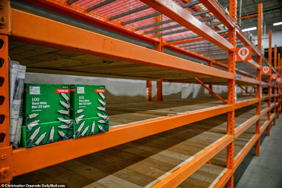 VIRGINIA: A Home Depot in Virginia Beach, Virginia, on Sunday where many of the shelves were completely empty