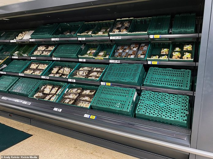 These pictures from the vegetable aisle at Tesco in Chester this morning. Mushrooms have been hit because of the shortage of C02