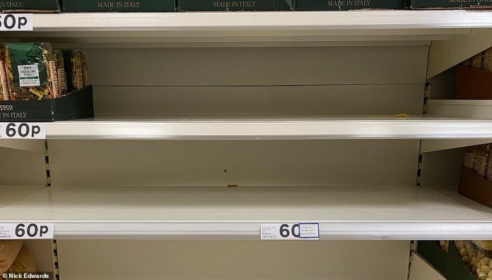 Some brands of pasta were also out of stock at this Tesco in south-east London this afternoon