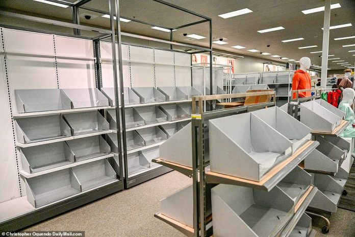 VIRGINIA: Entire sections of this Target store in Virginia Beach, Virginia, were empty on Sunday. Target and Walmart are hiring private charter ships to try to speed up the process and meet holiday demand