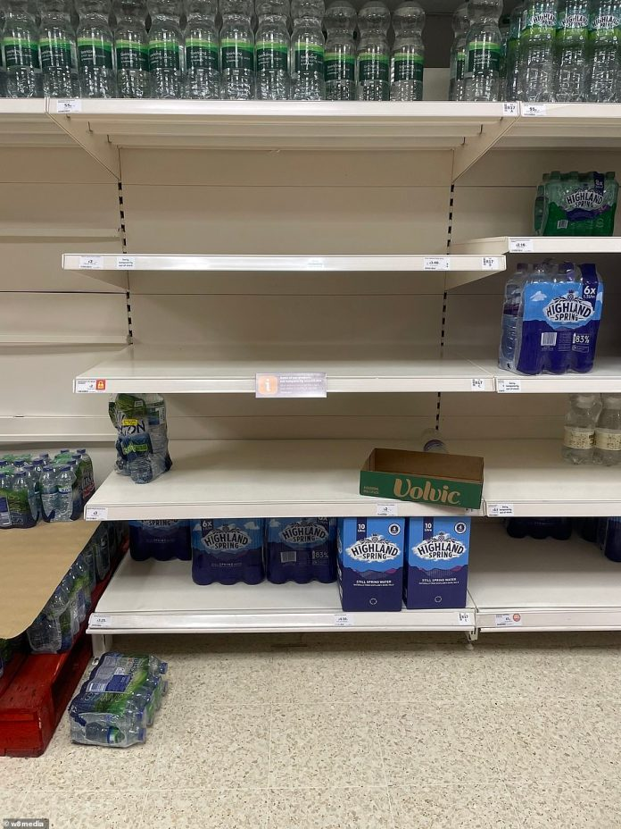 Empty shelves at Morrisons superstore in St Albans Hertfordshire today, with ongoing problems caused by a lack of HGV drivers