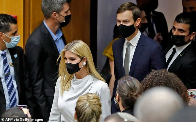 Ivanka and Jared arrive at the first meeting of theAbraham Accords Caucus at the Knesset on Monday