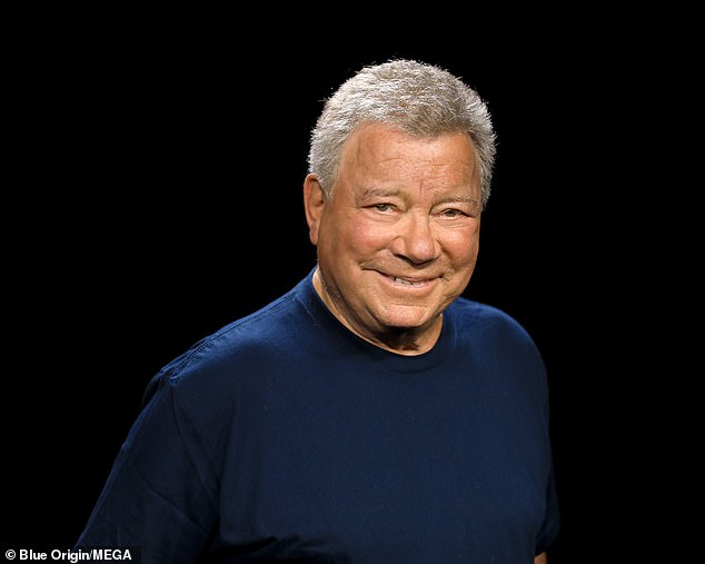 William Shatner (pictured) is one of four men aboard Blue Origin's New Shepard rocket on Wednesday - the mission was originally scheduled for Tuesday, but was delayed due to bad weather
