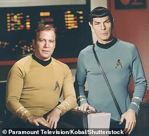 Shatner (left) is best known for playing Captain James T Kirk in the original Star Trek series, and is portrayed in the 1960s with his co-star Leonard Nimoy.