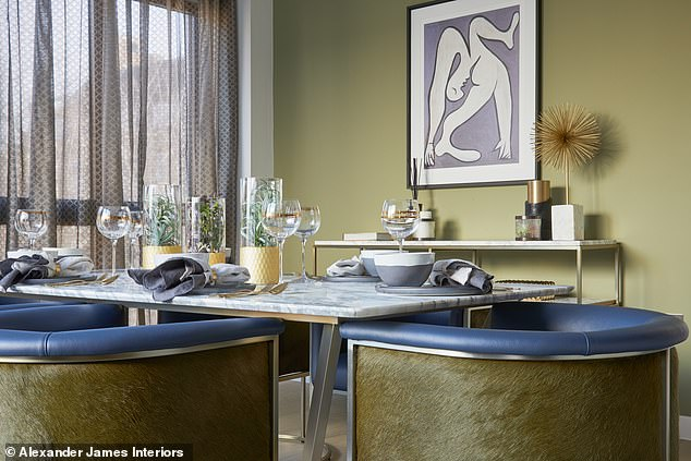 Feature Wall: Olive No. 13 in this room.  Named Farrow & Ball paint color included
