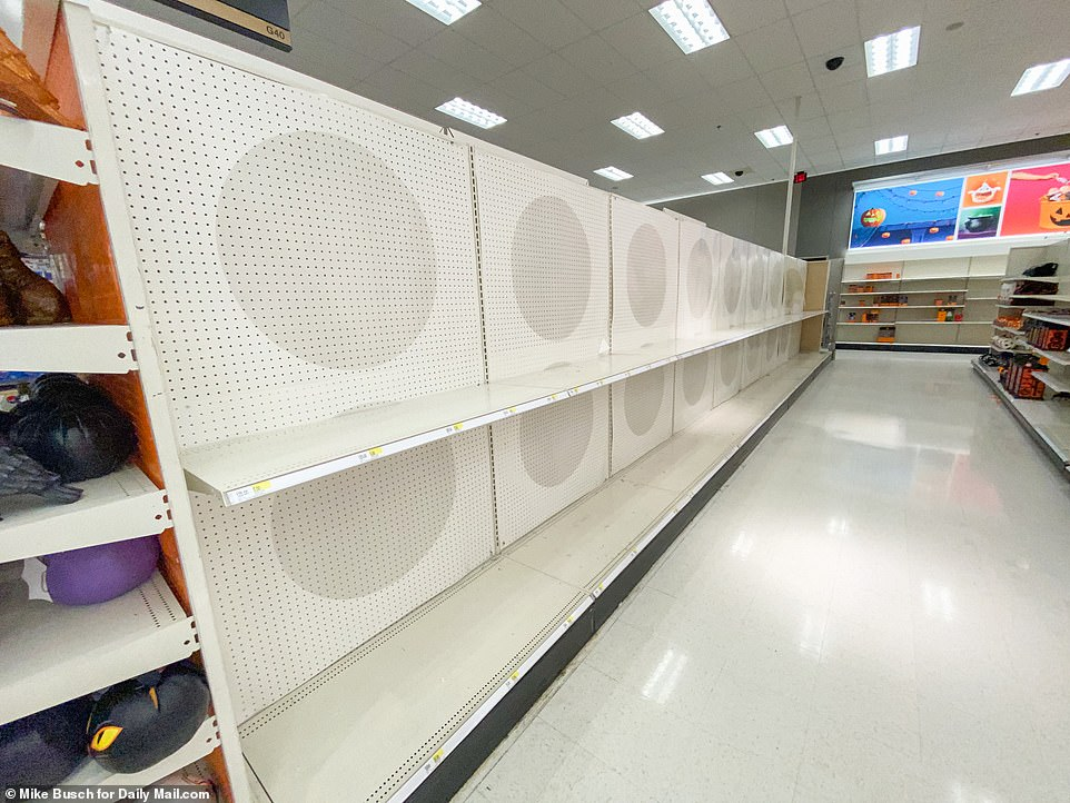 NEW YORK: A Target store in Medford, New York, where shelves were empty in the Halloween section