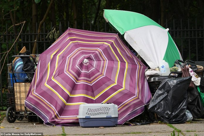 A homeless person appears to have created a makeshift shelter using two umbrellas and garbage cans