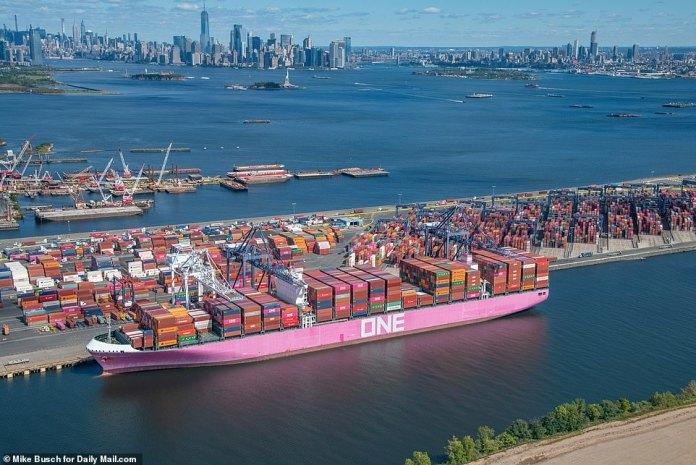 NEW JERSEY: The Bayonne terminal in New Jersey, which services New York and much of the East Coast, dozens of cargo containers still sit, last week