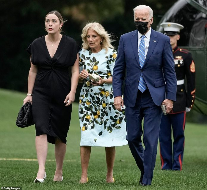 President Biden, First Lady Jill and granddaughter Naomi Biden walk across the South Lawn of the White House after attending the wedding of Biden's nephew Cuffe Owens and former Real Housewives of Orange County Star Meghan King