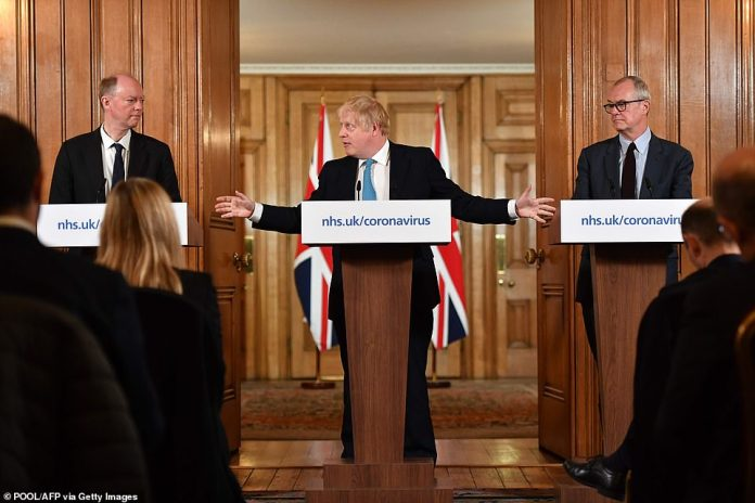 The inquiry found thatMinisters failed to challenge flawed advice from Government scientists which allowed Covid to rip through Britain. Pictured:Chief Medical Officer Chris Whitty (L) and Chief Scientific Adviser Patrick Vallance (R) look on as Britain's Prime Minister Boris Johnson hold one of the daily press conferences to address the nation in March last year