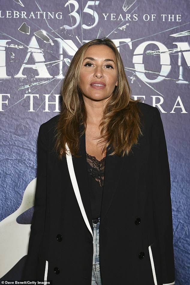 Stunning: The All Saints singer looked incredible in washed-out denim mom jeans and a chic black blazer at London's The Haymarket Hotel