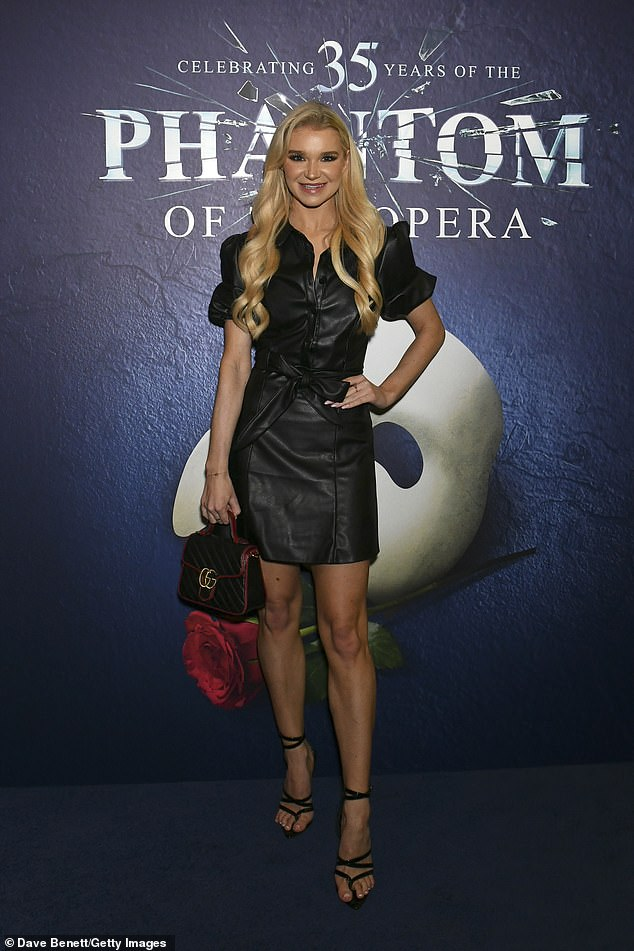 Currency: grand;  Professional dancer Abby Quinnon turned heads in a sizzling leather minidress and strappy black heels