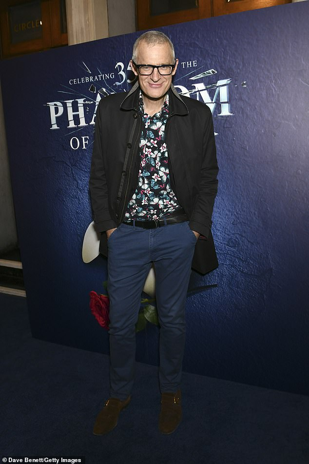 Dapper: Broadcaster Jeremy Wines wore a quirky floral shirt and blue chinos that he paired with a stylish black jacket.
