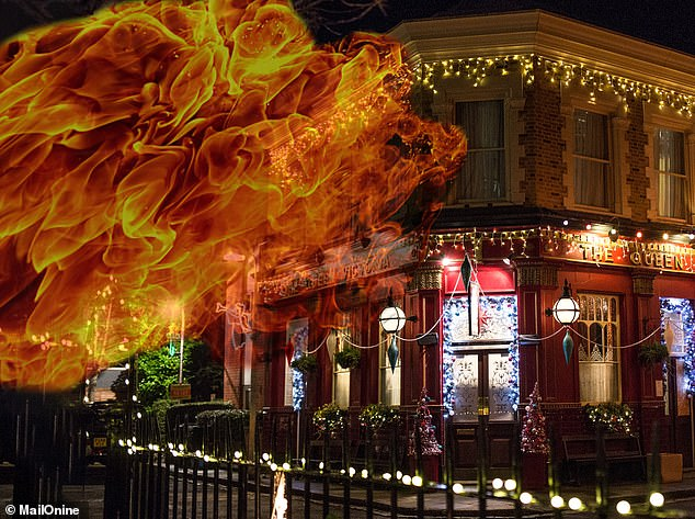 Explosive!In typical EastEnders fashion, Christmas is set to be plagued by misery this year with writers reportedly planning a terrorist plot for 2021, which will see a bomb scare in Walford [image devised by MailOnline]