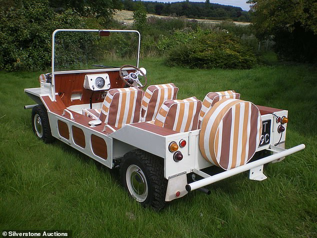 While the roof frame is original, the distinctive striped canvas top and seat covers are not, though have been reproduced to match the genuine parts