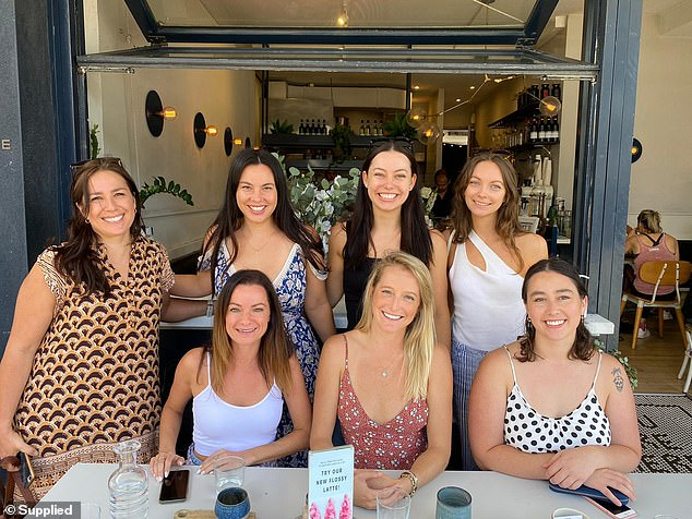 Ms Leonette (back row, second from left) credits cool social media groups, which have provided her with an online community of like-minded alcohol-free friends (pictured) for keeping her on track over the past 18 months.