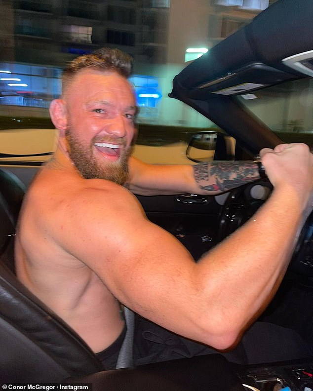 Out for a spin: Hands on the wheel of his convertible, Connor looked happy to share charming photos with his 42.5 million Instagram followers