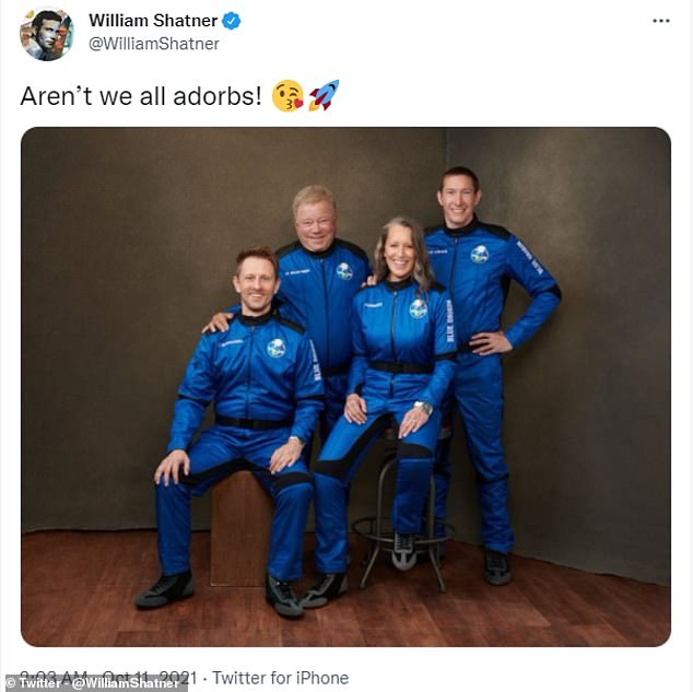 William Shatner (pictured second from left) shared the photo of the crew on Twitter, joking in the caption: 'Aren't we all applauding!'