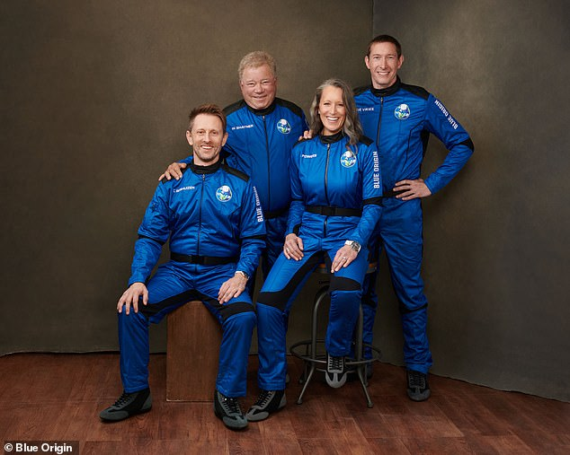 Left to right: Chris Boshuizen, William Shatner, Audrey Powers and Glenn de Vries will travel to the edge of space tomorrow with Blue Origin
