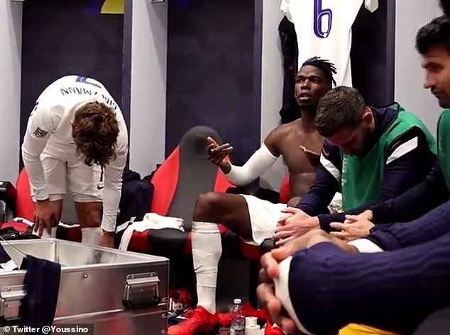 France midfielder Paul Pogba was seen giving a half-time speech to the France stars
