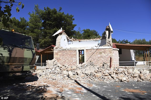 A damaged Greek Orthodox chapel after a strong earthquake in Arkalochori village in central Crete on September 27. One person was killed by falling debris while rescue workers seek to recover more from the rubble
