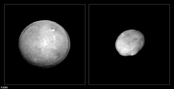 Ceres (left) and Vesta (right) are the two largest objects in the asteroid belt between Mars and Jupiter, approximately 586 and 323 miles (940 and 520 km) in diameter.