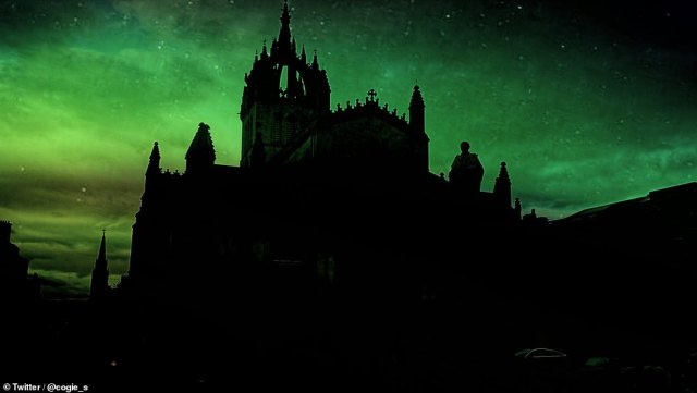Humans have observed the Northern Lights for thousands of years: In ancient Chinese folklore, a young woman who saw the lights gave birth to the legendary father of all Chinese people, Emperor Xuanyuan.  Photo: Northern Lights in the sky over Edinburgh last night.