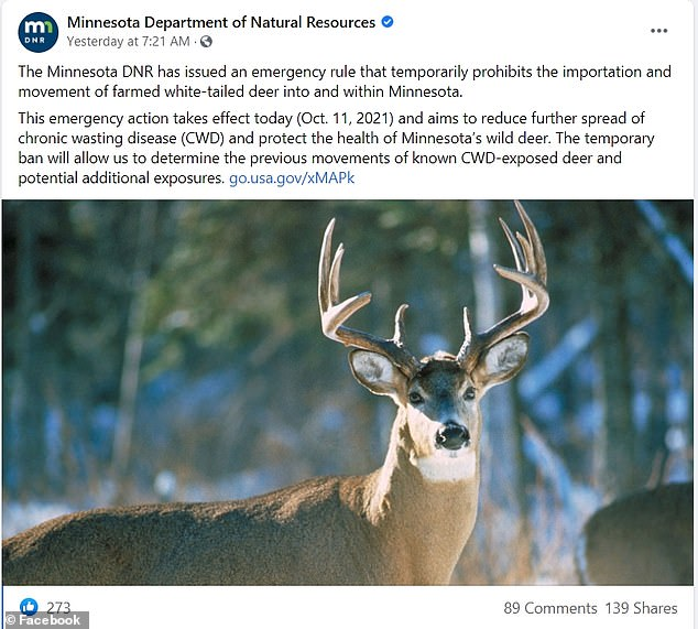 'Will allow temporary ban' [the agency] To determine past movements of known CWD-exposed deer and potential additional risk,' the agency wrote on Facebook.