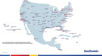 The above image is a map showing Southwest destinations