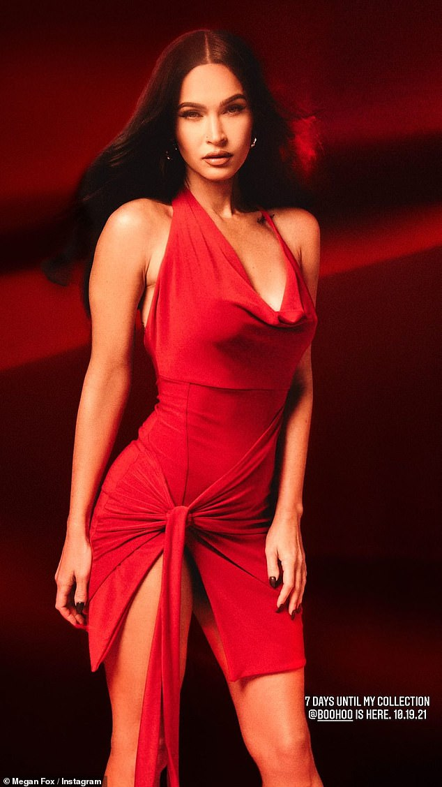 Lady in red! Megan rocked a cut-out dress in one snap shared to her social media platform