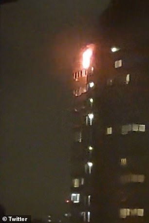 Atrin was rushed to hospital withburns on his stomach and arms and 50 other people living in the tower block were evacuated