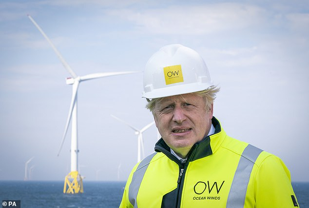 Pictured: Under Boris Johnson¿s 10 Point Plan For A Green Industrial Revolution, which he launched last November, Britain's windfarm capacity is set to quadruple again by 2030
