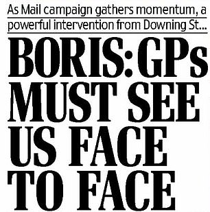 Daily Mail campaigns for more GP appointments in person, now legal COVID restrictions lifted
