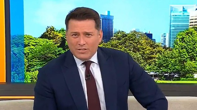 Joke:Today show host Karl Stefanovic (pictured) made a crude joke about Queen Elizabeth,95, using a walking stick for the first time at public engagement