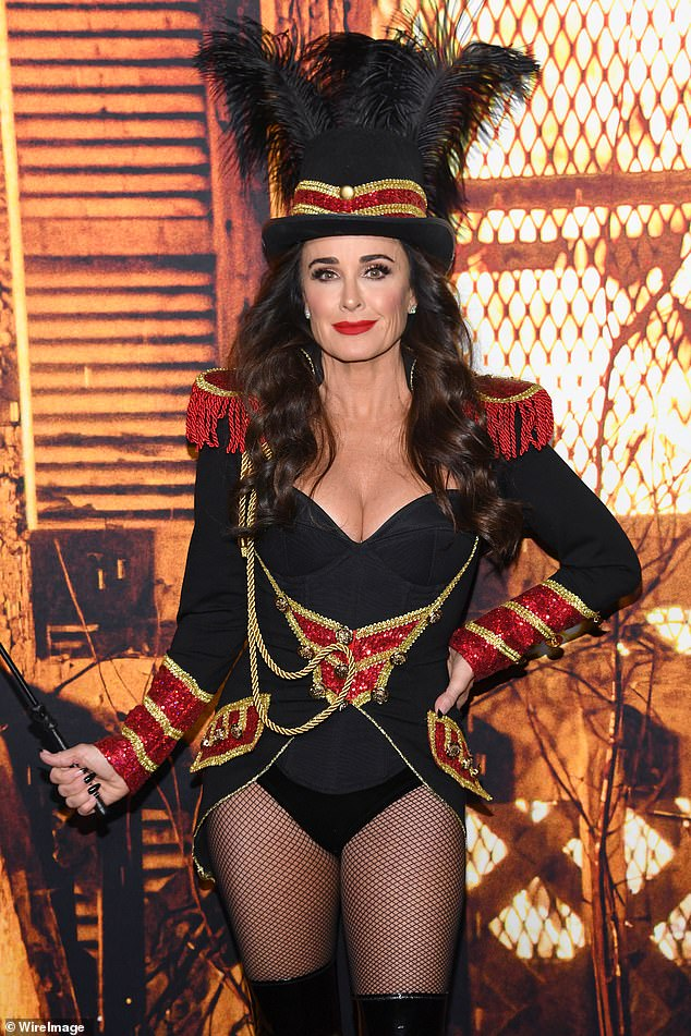 Ringmaster: Richards, who famously starred alongside scream queen Jamie Lee Curtis in the original Halloween, showcased her incredible figure in a sexy ringmaster costume