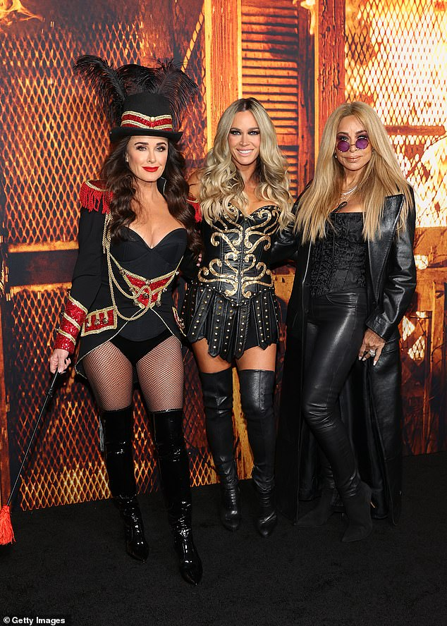 Arrivals:Kyle Richards attended the premiere for Halloween Kills on Tuesday evening in Hollywood with several of her closest pals, including Teddi Mellencamp and Faye Resnick