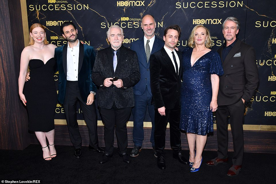 The Roy family reunite! The cast of HBO's hit drama Succession turned out in style for the glittering premiere of the show's third season in New York City on Tuesday (L-R)Sarah Snook, Arian Moayed, Brian Cox, Jesse Armstrong, Kieran Culkin, J. Smith-Cameron and Alan Ruck