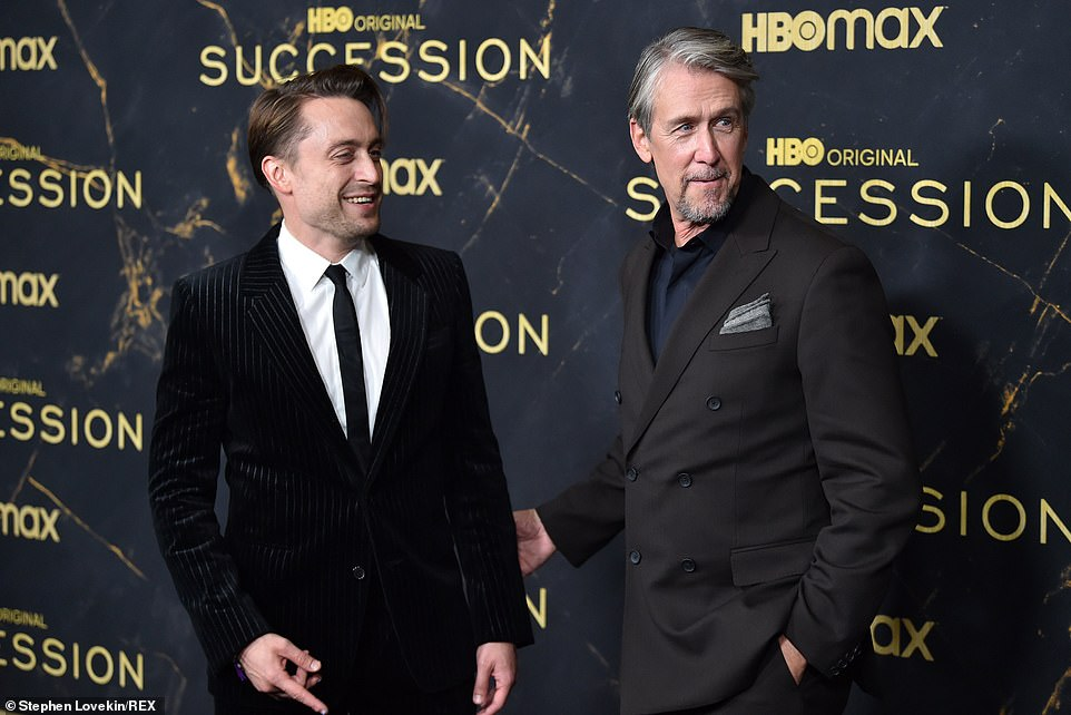 Beaming: Series stars Kieran Culkin and Alan Ruck looked chummy as they shared some laughs in front of the Succession backdrop