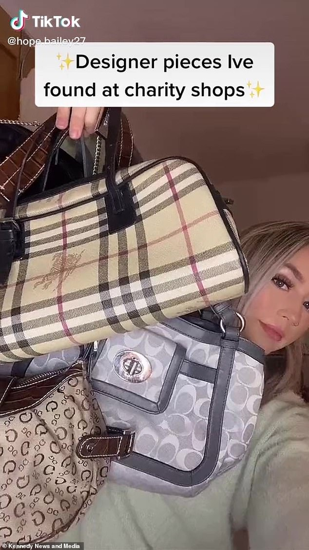 She snags vintage Burberry & Coach bags and purses, a Dior T-shirt and Mulberry belt for a fraction of the original price and now almost exclusively buys secondhand