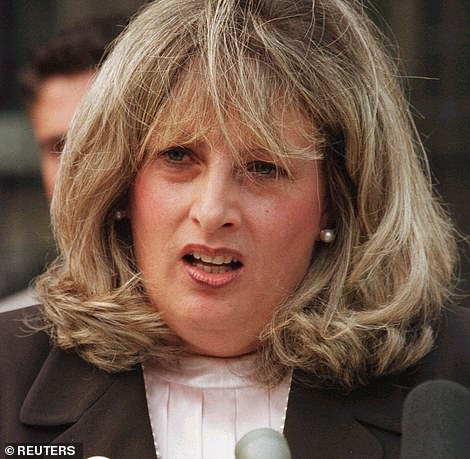 Pictured: The real Linda Tripp,, a key figure in the Monica Lewinsky sex scandal that engulfed the Clinton White House, in a 1998 photo