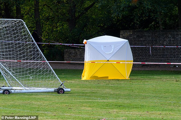After being stabbed, Mr Wali, an Afghan refugee who is reported to have come to the UK two years ago, is said to have staggered onto a playing field where local school children were playing rugby. Pictured: A police forensic tent at the scene today