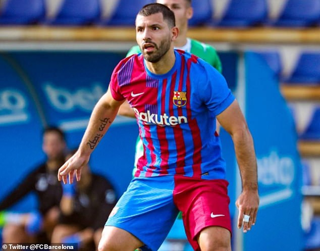 Sergio Aguero played and scored for Barcelona in a training ground friendly on Wednesday