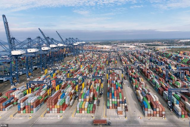 Thousands of shipping containers at the Port of Felixstowe in Suffolk are pictured today as the shipping crisis continues